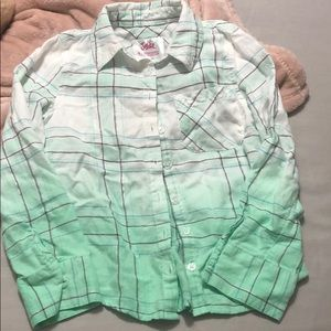 Girls green justice plaid sparkle shirt 6
